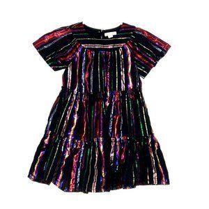 """Crewcuts """"Hilda"""" Dress Metallic Rainbow Stripes"""